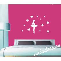 Adesivo 1m Decorativo Kit Bailarina Com 12 Estrelas Corações