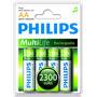 Pilha Recarregável Aa 1,2v 2300mah Nimh Philips Com 4 Pilhas