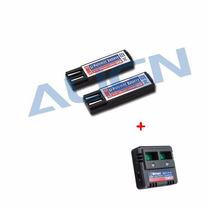 2 Baterias + Carregador Lipo 1s 3.7v 150mah Align T-rex 100