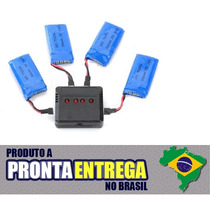 Kit 4 Baterias + Carregador Múltiplo Hubsan X4 E Top Selling