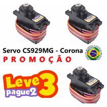 3 Servos Corona Cs-929mg Metal Futaba Tarot Hk Trex 450 Emax
