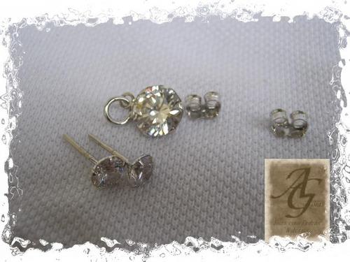 A.g.jóias.cj. Com Pingente E Brincos Com Zircônia. Prata Rh.