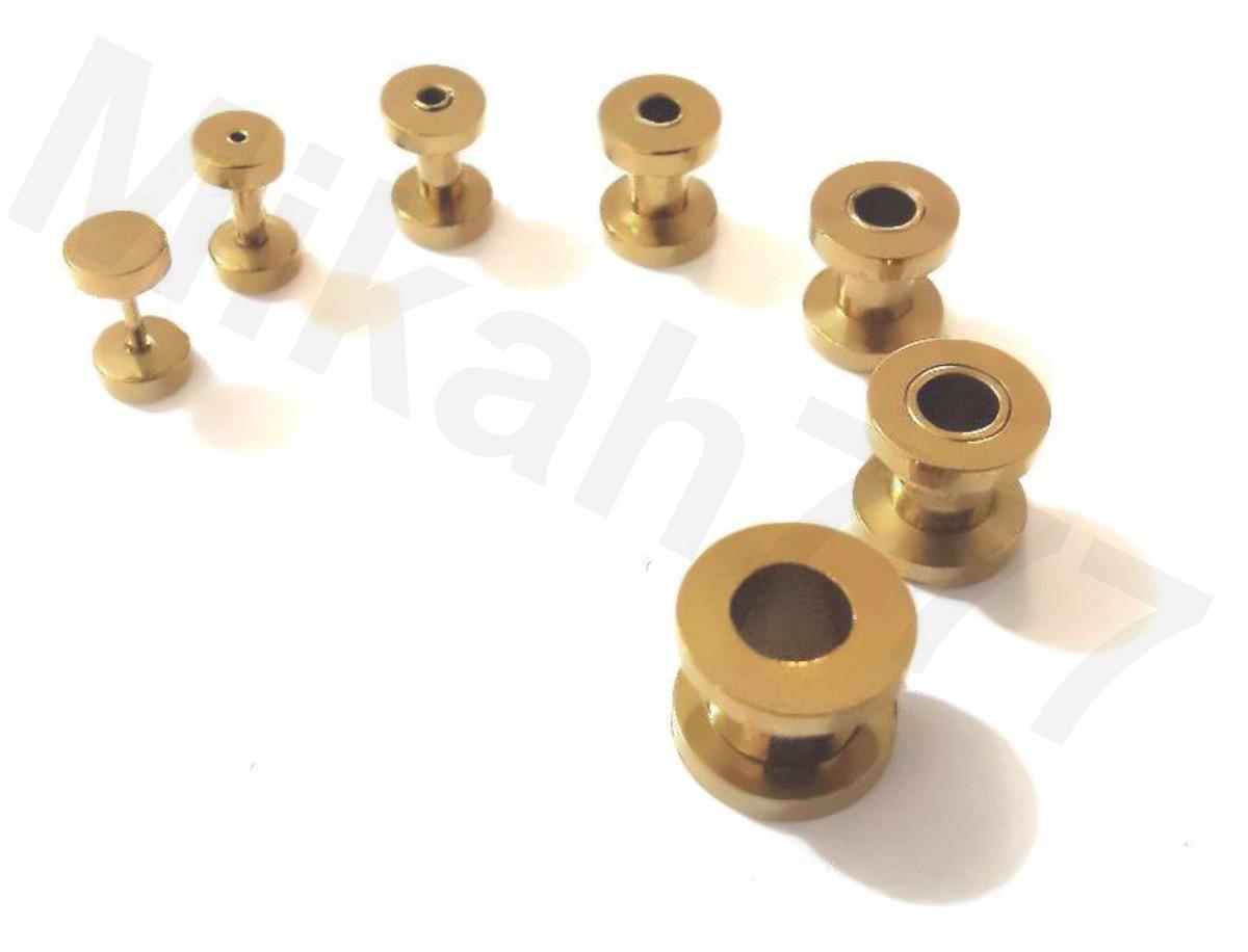 alargadores dourado a o inox316l 1mm 2mm 3mm 4mm 5mm 6mm 8mm r 16 90 no mercadolivre. Black Bedroom Furniture Sets. Home Design Ideas