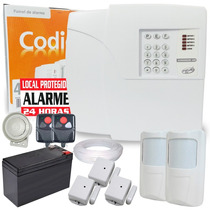 Kit Alarme Residencial Com. 5 Sensores + Discadora E Bateria