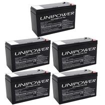 Kit 5 Bateria Para Alarmes E Cerca Eletrica Nobreak 12v 7a