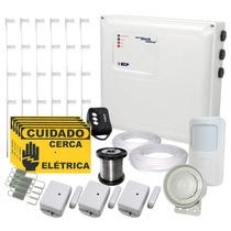 Kit Cerca Elétrica E Kit Alarme S/ Fio 80 Metros 4s + Brinde