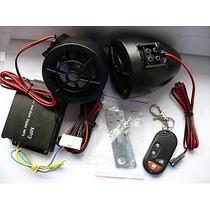 Alarme E Som P/ Moto Com Mp3 Usb/sd Radio Fm Controle Remoto