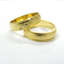 Aliança De Ouro 18k, 8,0gr Fosca, 3 Brilhantes Friso Polido