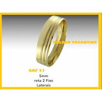 Aliança De Casamento Folheada Ouro 24k 5mm Reta Gaf 21