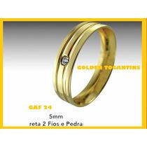 Aliança De Casamento Folheado A Ouro 24k 5mm Reta Co