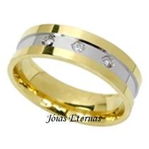 Jóias Eternas Par De Alianças Bodas Em Ouro 18k E Diamantes