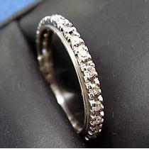 Aliança Inteira De Diamantes ***em Ouro Branco 0,750