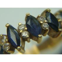 Meia Aliança D Ouro 18k Com Diamantes E Safiras Jr Joalheiro