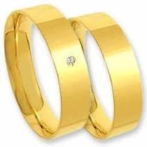 Par De Alianças Reta Prata Folhada A Ouro Com 1 Zirconia