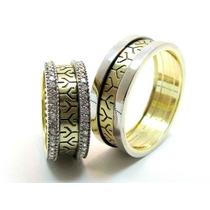 Aliança Em Ouro Branco E Amarelo Com Diamantes De 1 Ponto!!