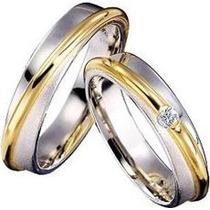 Maravilhoso Par De Aliaças Em Ouro Amarelo E Branco !!!