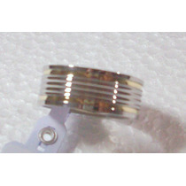 Aliança Aço Inox 8mm 2 Fios De Ouro 3 Frisos Lisos No Centro