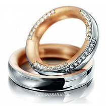 Par De Alianças Em Ouro Branco E Rose 18k!!e Diamantes!