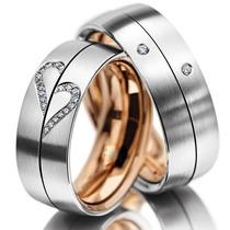 Par De Alianças Dois Amores Meu 18k Diamantes Sedex Grátis