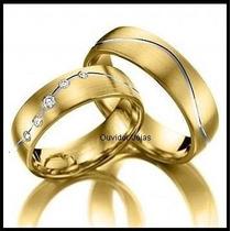 Par Alianças 12 Grs Ouro18k/ 750 Diamantes Frete Nota Fiscal