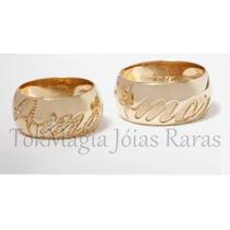 Aliança De Ouro 18 Klts C/ Diamantes Escrito Amor Em Relevo