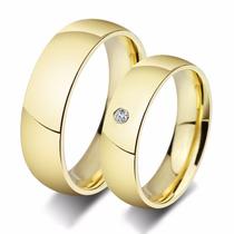 Par Alianças Casamento 4mm Baratas Banhada Ouro 18k Strass