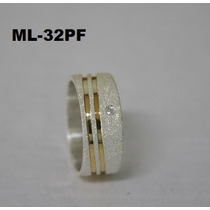 Aliança De Compromisso Prata 950 E Fios De Ouro 18 Kl