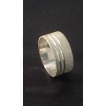 Par De Alianças Prata 950 Fosca Com Friso 9mm 12 Gramas