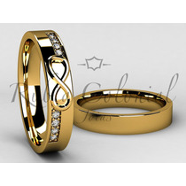 Aliança Infinito Ouro 18k. 8 Diamantes. Casamento Noiva