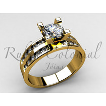 Anel De Noivado - Luxo - Diamante Central: 50 Pontos