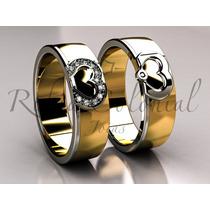 Par De Alianças De Casamento Coração. Joias, Ouro, Diamantes