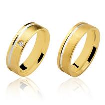 Par Aliança Casamento Prata Banho Ouro Fosca Friso Lateral