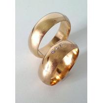 Par De Aliança Em Ouro 18 Kl 750 E Diamantes.