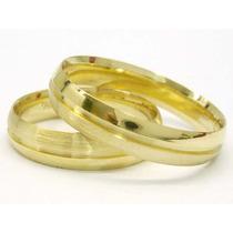 Aliança Ouro18k 6gramas(par)canals/solda Casamento Joianete