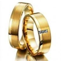 Par De Alianças Ouro 18k Com Brilhantes Anatômica Casamento