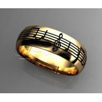 Par De Alianças Boleada Notas Musicais Prata 950 Banho Ouro