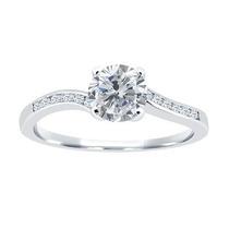 Anel Ouro Branco Solitario18k 750 Diamantes Modelo Tiffany .