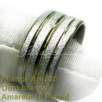 Aliança Aro 25 Noivado/casamento Ouro Plated + Frete Grátis