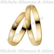 Par De Aliança Ouro 18k 4gr 3m Brilhante Casamento Noivado