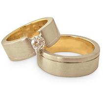 Par De Alianças Ouro 18k 6m 19gr Diamante 50pt Frete Grátis