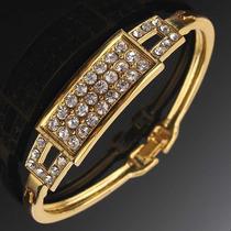 Bracelete Pulseira Folheada A Ouro Com Cristais Brilhantes 3