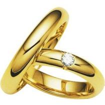 Par Alianças Ouro 18k 4mm 11gr 1 Diamante 6pt Frete Grátis