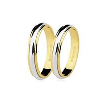 Par Aliança Ouro Branco E Amarelo 18k 8 Grs 5 Mm Casamento