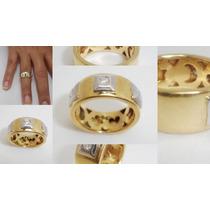 Boqueiraojoias Anel, Aliança Com 3 Diamantes Ouro 18k-750.