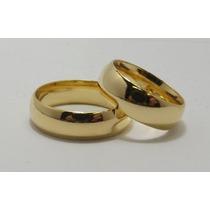 Par De Alianças 6mm Anatômicas Folheadas Ouro18-frete Gratis