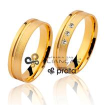 Par De Aliança Ouro 18k - 5mm/8grs - 03 Diamantes - Dc510