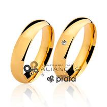 Par De Aliança Ouro 18k - 5mm/9grs - Com Diamante - Dc501