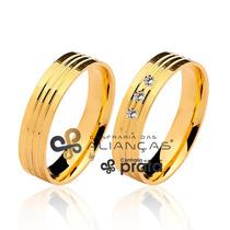 Par De Aliança Ouro 18k - 5mm/8grs - 03 Diamantes - Dc515