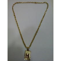 Conj. Cordão Cartier E Medalha Com Letra Em Ouro 18 Kl 750.