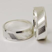 Par Alianças Namoro Prata Modelo Ag-072 Frisada E Diamantada